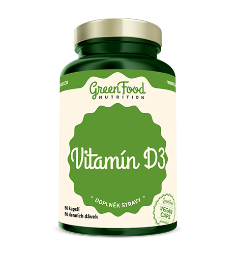 Levně Vitamín D3 - GreenFood Nutrition, 60 kapslí,Vitamín D3 - GreenFood Nutrition, 60 kapslí
